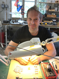 Jouko engraving our antler jewelry