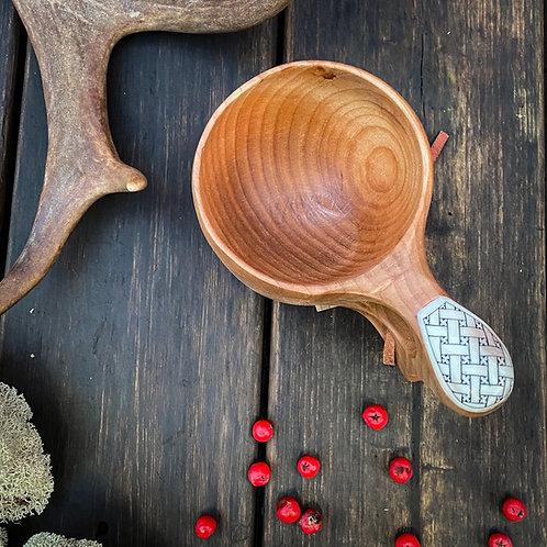 Wooden kuksa with antler