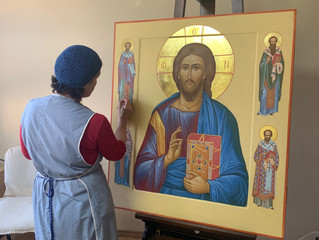 Иконописная мастерская на Иоанно-Предтеченском подворье нашего монастыря.