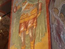 святой Димитрий Солунский, фреска Свияжского Успенского собора, XVI век.