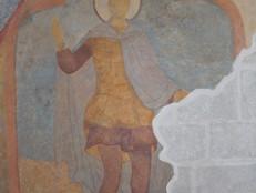 Фреска с изображением св. Дмитрия Солунского, ризница Никольского храма Свияжского Успенского монастыря, XVII век.