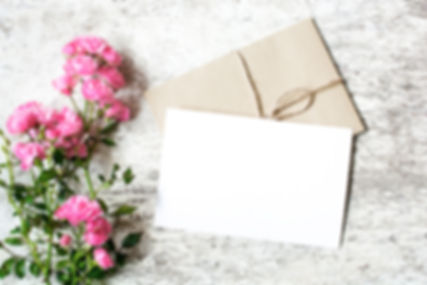 Blank white greeting card and envelope w