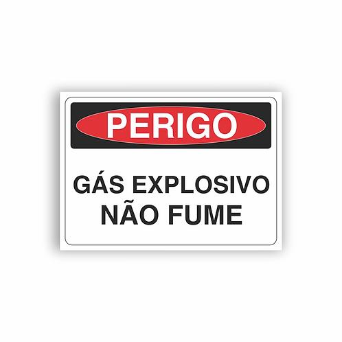 Placa de Sinalização Poliestireno (PS) 2mm - Perigo Gás Explosivo Não Fume