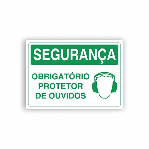 Placa de Sinalização Poliestireno (PS) 2mm - Segurança Obrigatório Protetor