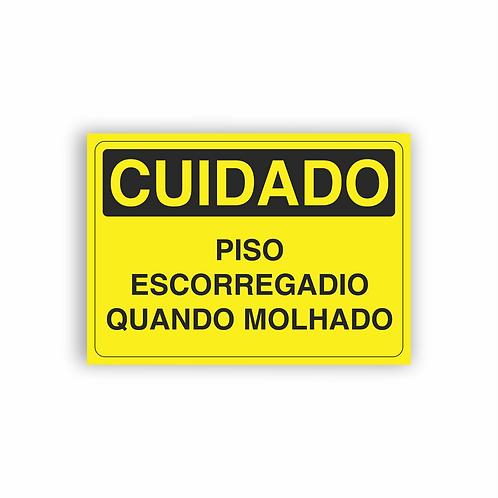 Placa de Sinalização Poliestireno (PS) 2mm - Cuidado Piso Escorregadio