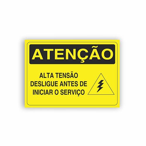 Placa de Sinalização Poliestireno (PS) 2mm - Atenção Alta Tensão Desligue Antes