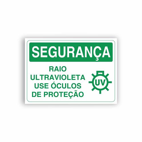 Placa de Sinalização Poliestireno (PS) 2mm - Segurança Raio Ultravioleta