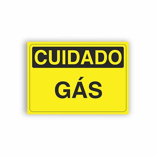 Placa de Sinalização Poliestireno (PS) 2mm - Cuidado Gás