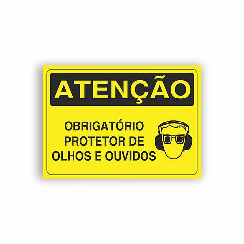 Placa de Sinalização Poliestireno (PS) 2mm - Atenção Obrigatório Protetor