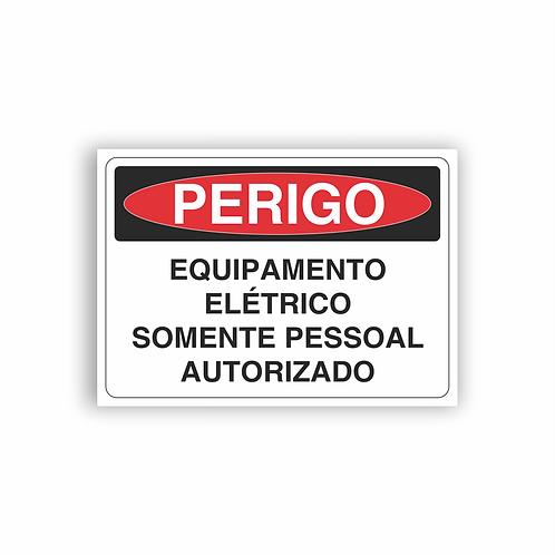 Placa de Sinalização Poliestireno (PS) 2mm - Perigo Equipamento Elétrico