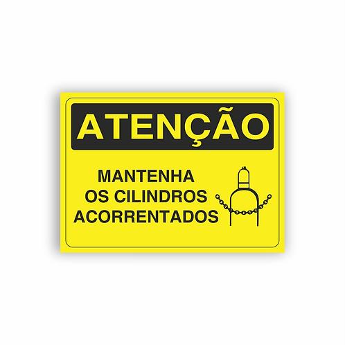 Placa de Sinalização Poliestireno (PS) 2mm - Atenção Mantenha os Cilindros