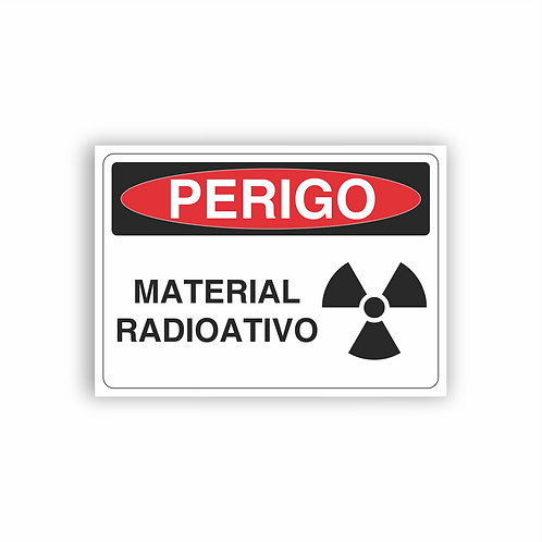 Placa de Sinalização Poliestireno (PS) 2mm - Perigo Material Radioativo