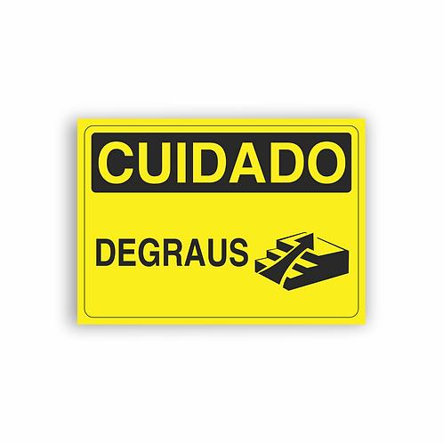 Placa de Sinalização Poliestireno (PS) 2mm - Cuidado Degraus - Subindo