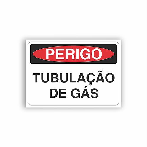 Placa de Sinalização Poliestireno (PS) 2mm - Perigo Tubulação de Gás