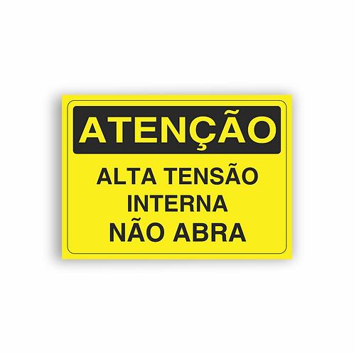 Placa de Sinalização Poliestireno (PS) 2mm - Atenção Alta Tensão Interna Não Abr
