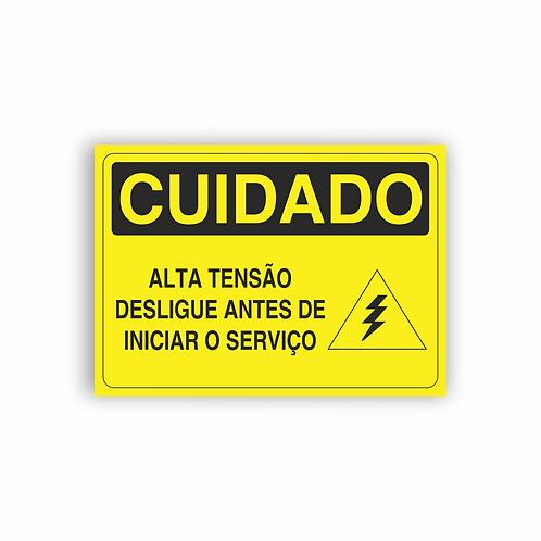 Placa de Sinalização Poliestireno (PS) 2mm - Cuidado Alta Tensão