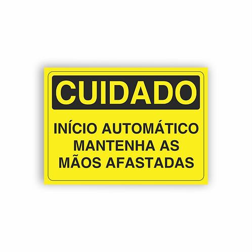 Placa de Sinalização Poliestireno (PS) 2mm - Cuidado Início Automático