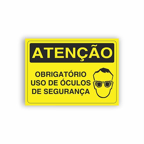 Placa de Sinalização Poliestireno (PS) 2mm - Atenção Obrigatório Uso de Óculos