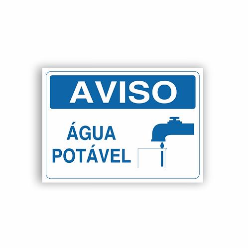 Placa de Sinalização Poliestireno (PS) 2mm - Aviso Água Potável