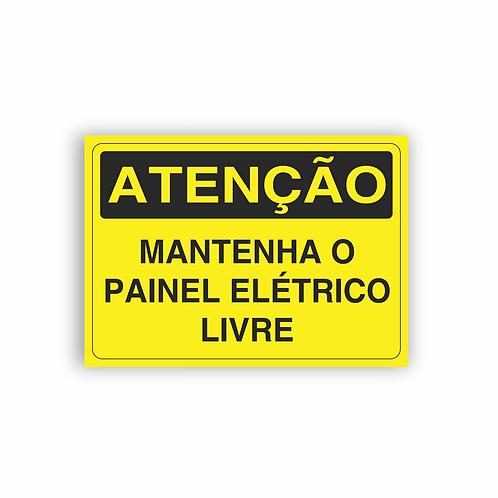 Placa de Sinalização Poliestireno (PS) 2mm - Atenção Mantenha o Painel Elétrico