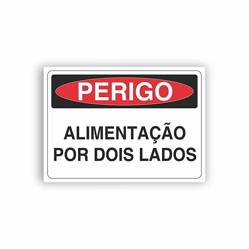 Placa de Sinalização Poliestireno (PS) 2mm - Perigo Alimentação Por Dois Lados