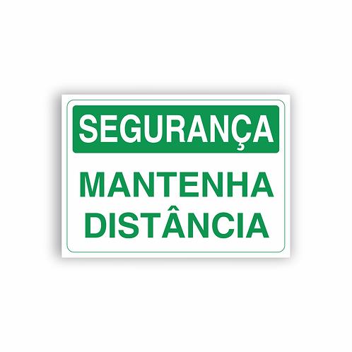 Placa de Sinalização Poliestireno (PS) 2mm - Segurança Mantenha Distância