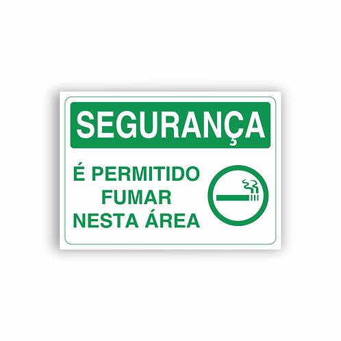 Placa de Sinalização Poliestireno (PS) 2mm - Segurança É Permitido Fumar