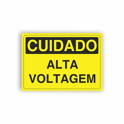 Placa de Sinalização Poliestireno (PS) 2mm - Cuidado Alta Voltagem