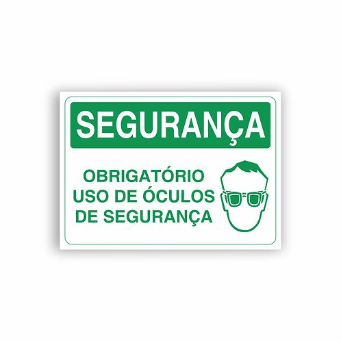 Placa de Sinalização Poliestireno (PS) 2mm - Segurança Obrigatório Uso de Óculos