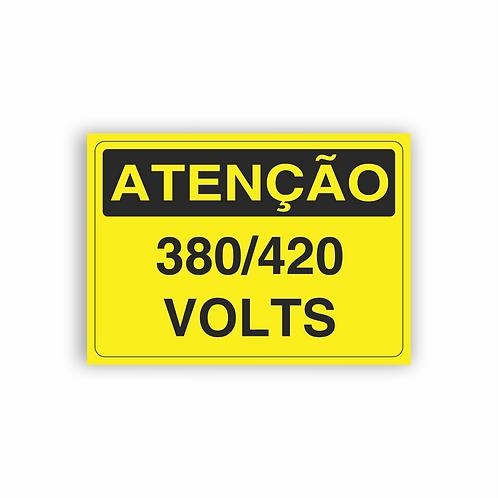 Placa de Sinalização Poliestireno (PS) 2mm - Atenção 380/420 Volts