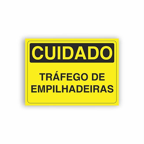 Placa de Sinalização Poliestireno (PS) 2mm - Cuidado Tráfego de Empilhadeiras