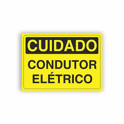Placa de Sinalização Poliestireno (PS) 2mm - Cuidado Condutor Elétrico