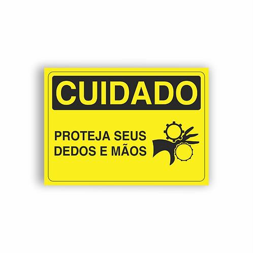 Placa de Sinalização Poliestireno (PS) 2mm - Cuidado Proteja Seus Dedos e Mãos