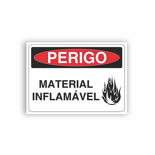 Placa de Sinalização Poliestireno (PS) 2mm - Perigo Material Inflamável