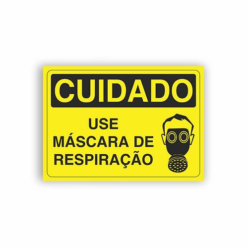 Placa de Sinalização Poliestireno (PS) 2mm - Cuidado Use Máscara de Respiração