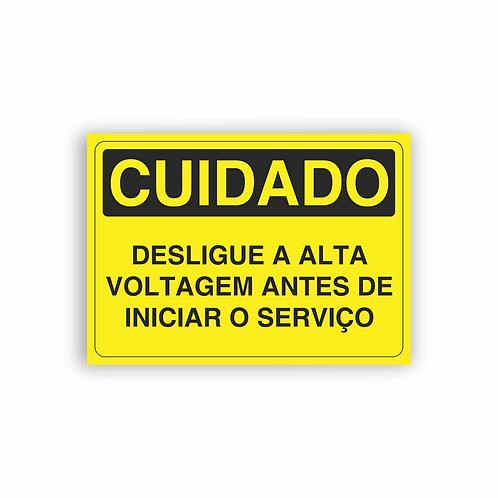 Placa de Sinalização Poliestireno (PS) 2mm - Cuidado Desligue a Alta Voltagem