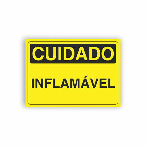 Placa de Sinalização Poliestireno (PS) 2mm - Cuidado Inflamável