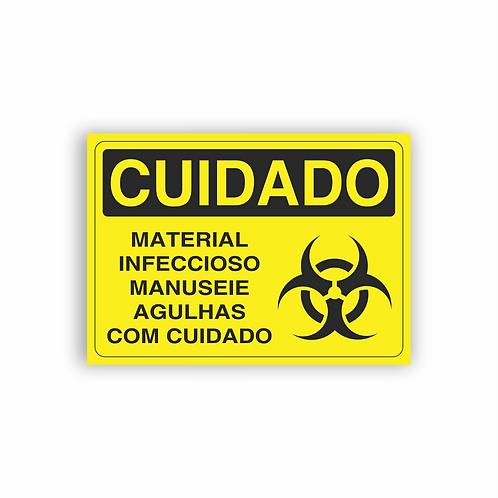 Placa de Sinalização Poliestireno (PS) 2mm - Cuidado Material Infeccioso