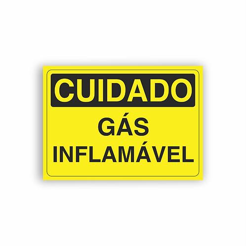Placa de Sinalização Poliestireno (PS) 2mm - Cuidado Gás Inflamável