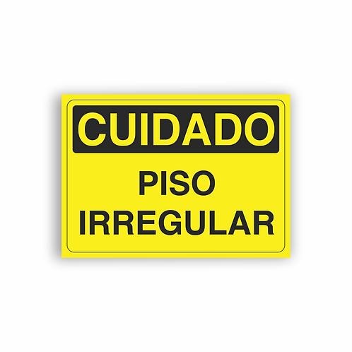 Placa de Sinalização Poliestireno (PS) 2mm - Cuidado Piso Irregular