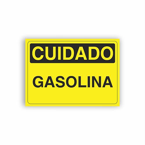 Placa de Sinalização Poliestireno (PS) 2mm - Cuidado Gasolina