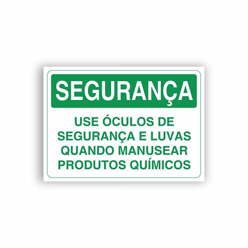 Placa de Sinalização Poliestireno (PS) 2mm - Segurança Use Óculos de Segurança