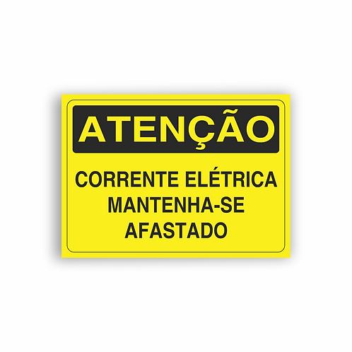 Placa de Sinalização Poliestireno (PS) 2mm - Atenção Corrente Elétrica