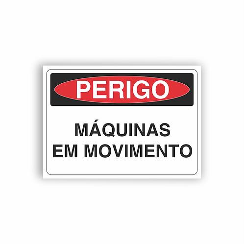 Placa de Sinalização Poliestireno (PS) 2mm - Perigo Máquinas em Movimento