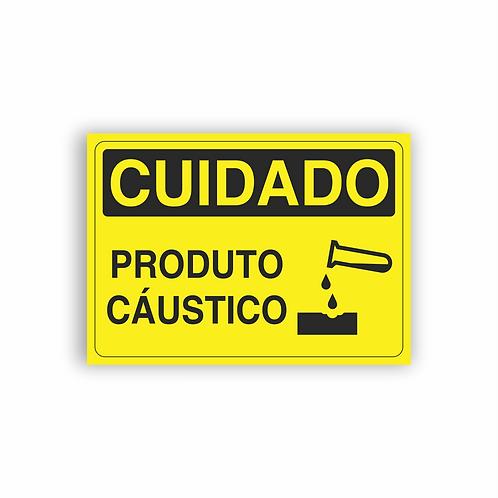 Placa de Sinalização Poliestireno (PS) 2mm - Cuidado Produto Cáustico
