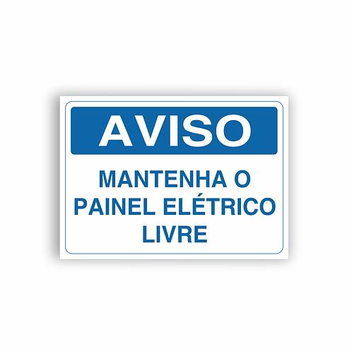 Placa de Sinalização Poliestireno (PS) 2mm - Aviso Mantenha o Painel Elétrico