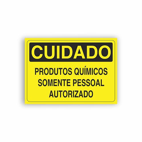 Placa de Sinalização Poliestireno (PS) 2mm - Cuidado Produtos Químicos