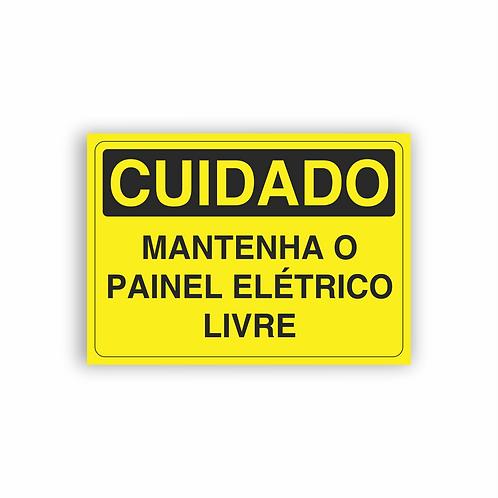 Placa de Sinalização Poliestireno (PS) 2mm - Cuidado Mantenha o Painel Elétrico