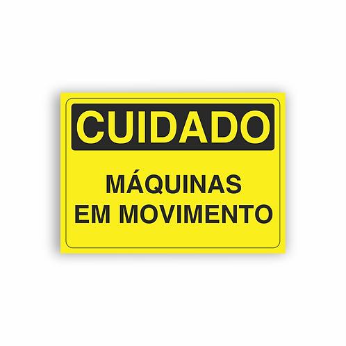 Placa de Sinalização Poliestireno (PS) 2mm - Cuidado Máquinas em Movimento