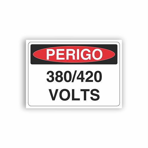 Placa de Sinalização Poliestireno (PS) 2mm - Perigo 380/420 Volts